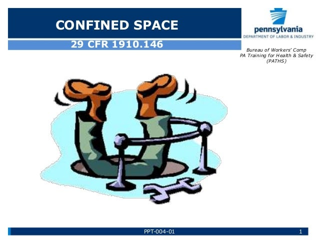 29 CFR 1910.146 CONFINED SPACE Bureau of Workers' Comp PA Training for Health & Safety (PATHS) 1PPT-004-01