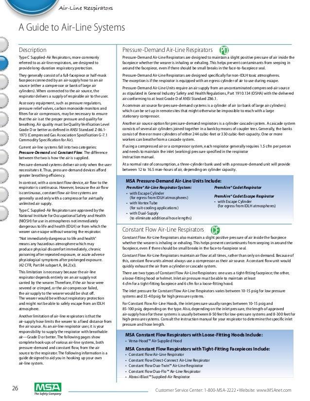 Air-Line Respirators  A Guide to Air-Line Systems     Description                                                   Pressu...