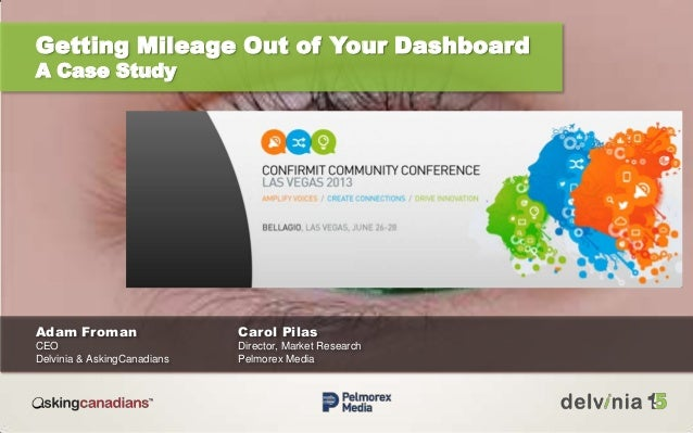 Getting Mileage Out of Your Dashboard A Case Study Adam Froman Carol Pilas CEO Director, Market Research Delvinia & Asking...