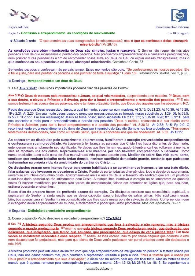 Lições Adultos Reavivamento e Reforma Lição 6 - Confissão e arrependimento: as condições do reavivamento 3 a 10 de agosto ...