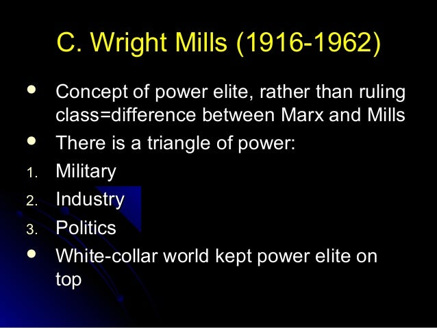 c wright mills the power elite Maverick sociologist and social critic c wright mills produced the influential book the power elite in 1956, six years before his death the power elite, according to mills, is composed of men who occupy positions of authority in major institutions and organizations in the economic, political, and military arenas.