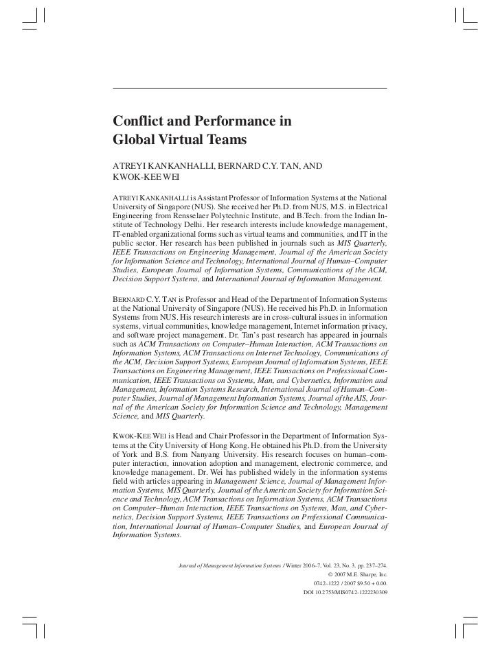 CONFLICT AND PERFORMANCE IN GLOBAL VIRTUAL TEAMS                            237Conflict and Performance inGlobal Virtual T...