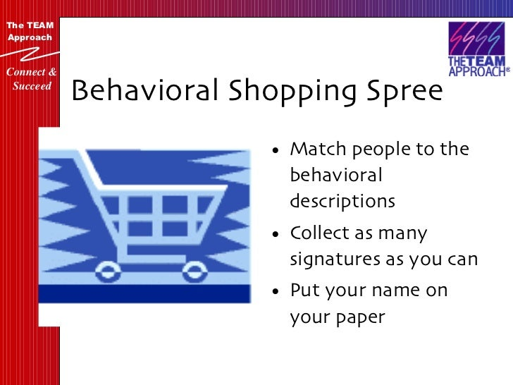 Behavioral Shopping Spree <ul><li>Match people to the behavioral descriptions </li></ul><ul><li>Collect as many signatures...