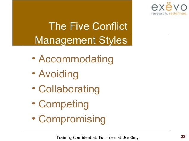 styles of conflict management Conflict styles conflict is often best understood by examining the consequences of various behaviors at moments in time these behaviors are usefully categorized according to conflict styles.