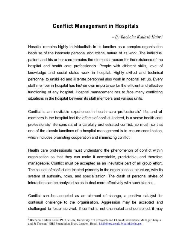 Conflict Management in Hospitals