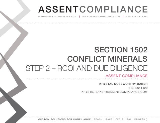 Conflict Mineral Due Diligence and Reasonable Country of Origin Inquiry