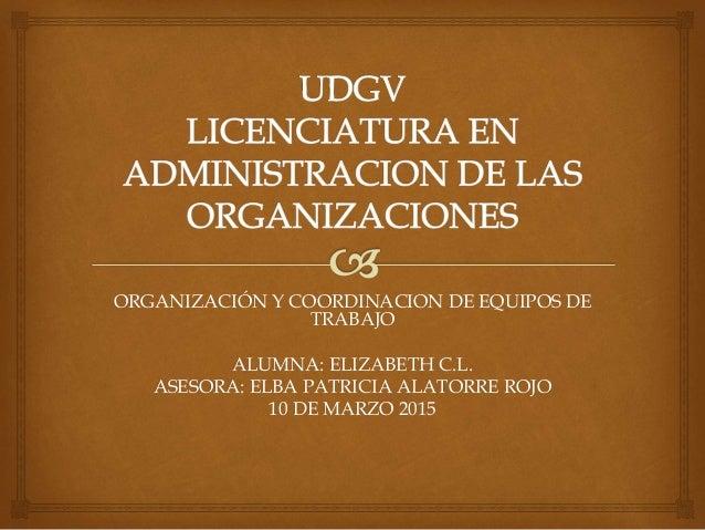 ORGANIZACIÓN Y COORDINACION DE EQUIPOS DE TRABAJO ALUMNA: ELIZABETH C.L. ASESORA: ELBA PATRICIA ALATORRE ROJO 10 DE MARZO ...