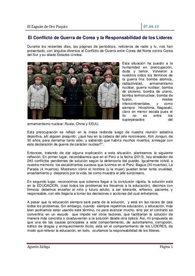 Conflicto de corea y la responsabilidad de los lideres