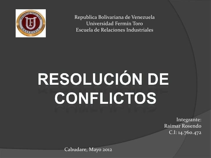 Republica Bolivariana de Venezuela       Universidad Fermín Toro   Escuela de Relaciones Industriales                     ...