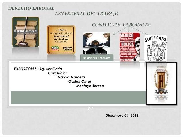 DERECHO LABORAL LEY FEDERAL DEL TRABAJO CONFLICTOS LABORALES  PPPP  Relaciones Laborales  EXPOSITORES: Aguilar Carla Cruz ...