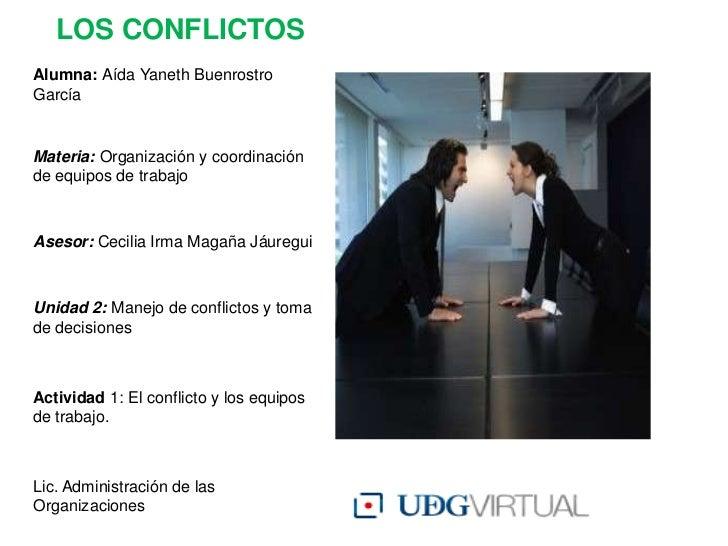 LOS CONFLICTOSAlumna: Aída Yaneth BuenrostroGarcíaMateria: Organización y coordinaciónde equipos de trabajoAsesor: Cecilia...