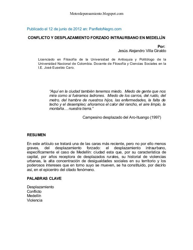 Motordepensamiento.blogspot.com Publicado el 12 de junio de 2012 en: PanfletoNegro.com CONFLICTO Y DESPLAZAMIENTO FORZADO ...