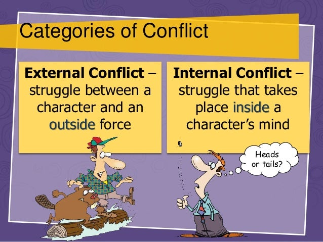 analyse how internal and or external conflict This conflict has both internal and external aspects, as obstacles outside the protagonist force the protagonist to deal with inner issues.
