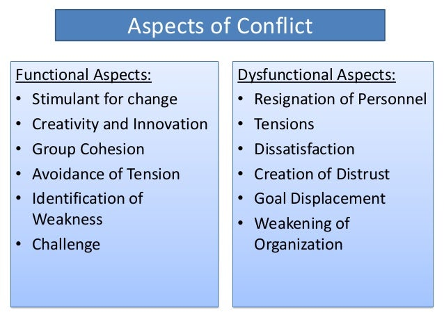 difference between functional and dysfunctional conflict essay Functional conflict is conflict or tension within a group that leads when conflict is functional the opposite of functional conflict is dysfunctional.