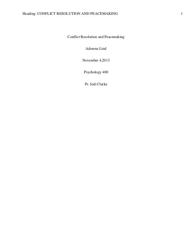Essays On Resolving Conflicts