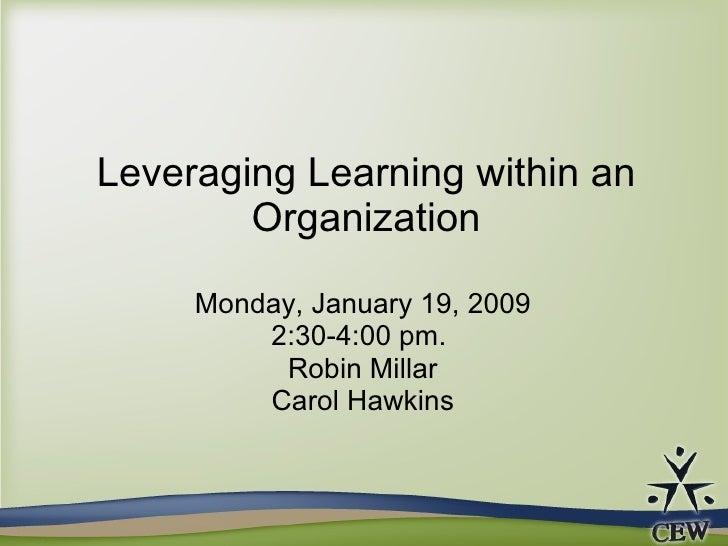 Leveraging Learning within an Organization Monday, January 19, 2009 2:30-4:00 pm.  Robin Millar Carol Hawkins