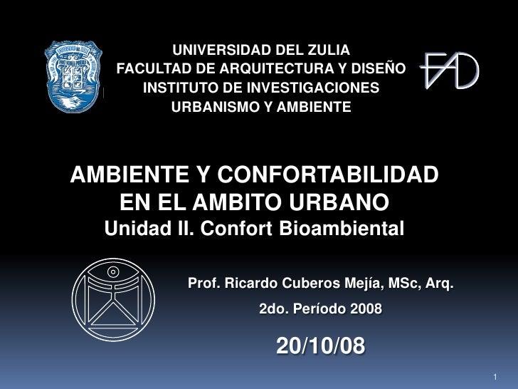 Ambiente y Confortabilidad en al Ámbito Urbano - Tema 2 Clase 1