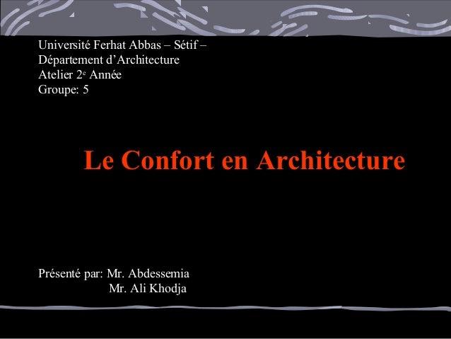 Université Ferhat Abbas – Sétif –Université Ferhat Abbas – Sétif – Département d'ArchitectureDépartement d'Architecture At...