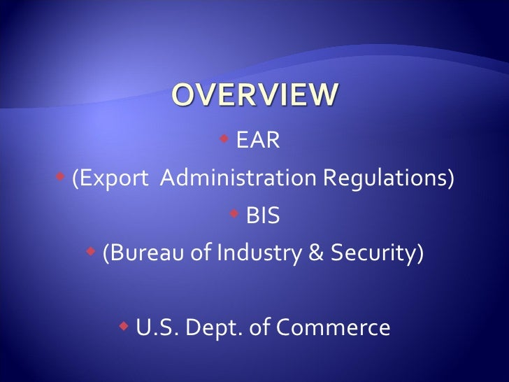 Export compliance itar 2 of 3 - Bureau of export administration ...