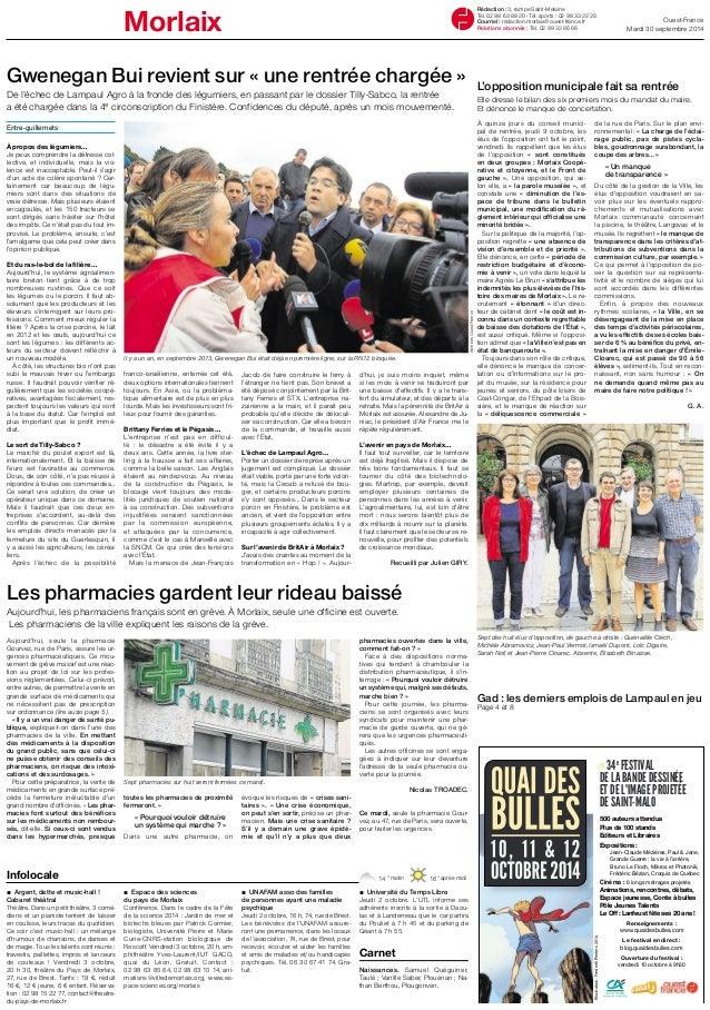Morlaix Ouest-France Rédaction : 3, rampe Saint-Melaine  Mardi 30 septembre 2014  Tél. 02 98 63 88 20 - Tél. sports : 02 9...