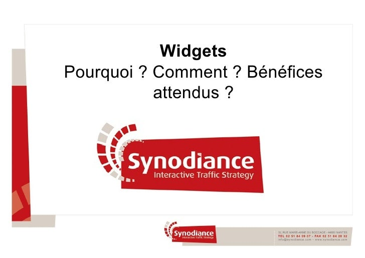 Synodiance > Widgets - Conférence Paris Forum e-marketing 30/01/2008
