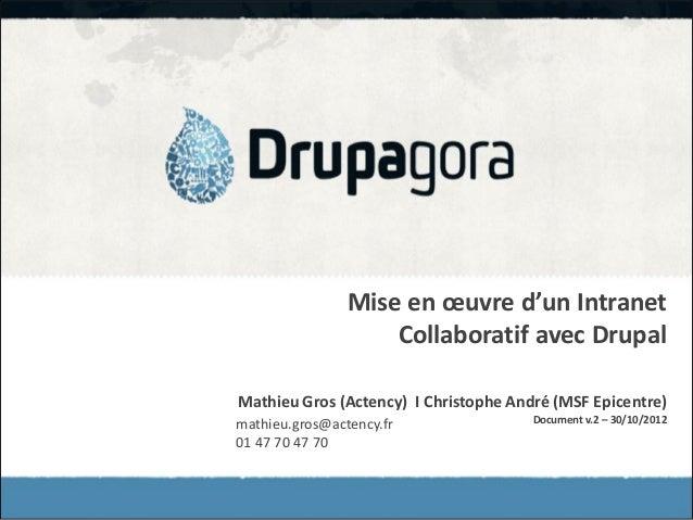 Mise en œuvre d'un Intranet                    Collaboratif avec DrupalMathieu Gros (Actency) I Christophe André (MSF Epic...