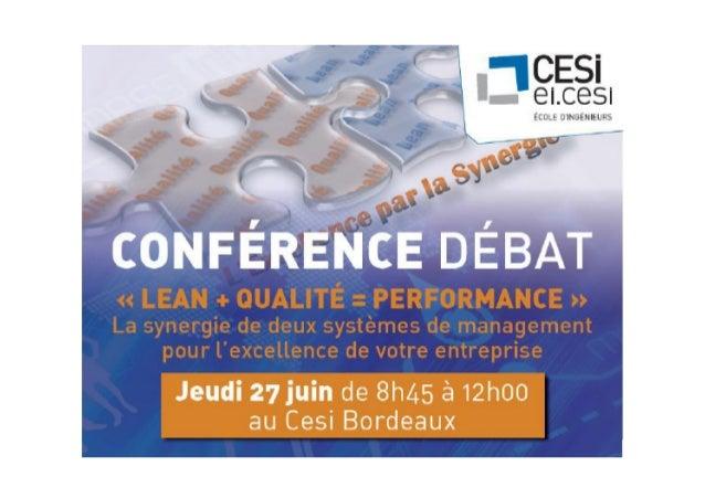 Conférence Cesi  : lean + qualité = performance