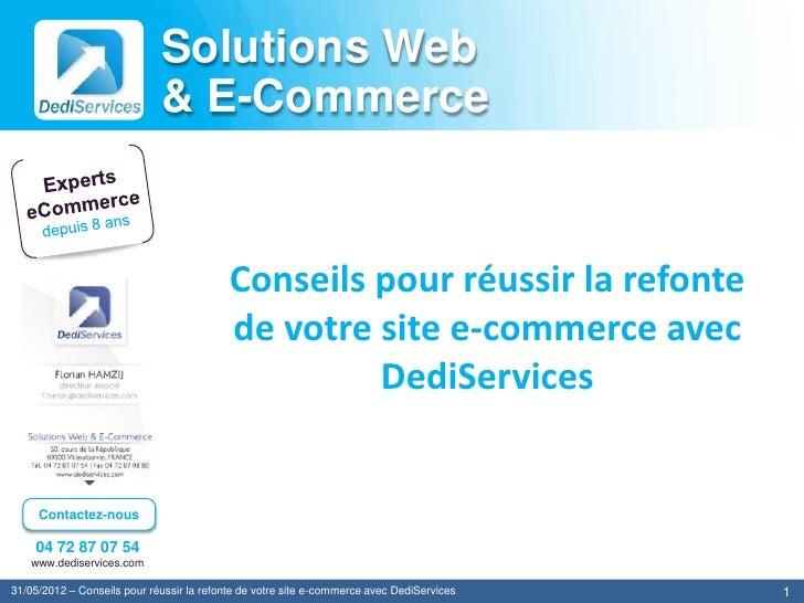 Solutions Web                             & E-Commerce                                           Conseils pour réussir la ...