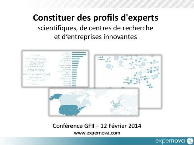 Constituer des profils d'experts scientifiques, de centres de recherche et d'entreprises innovantes  Conférence GFII – 12 ...
