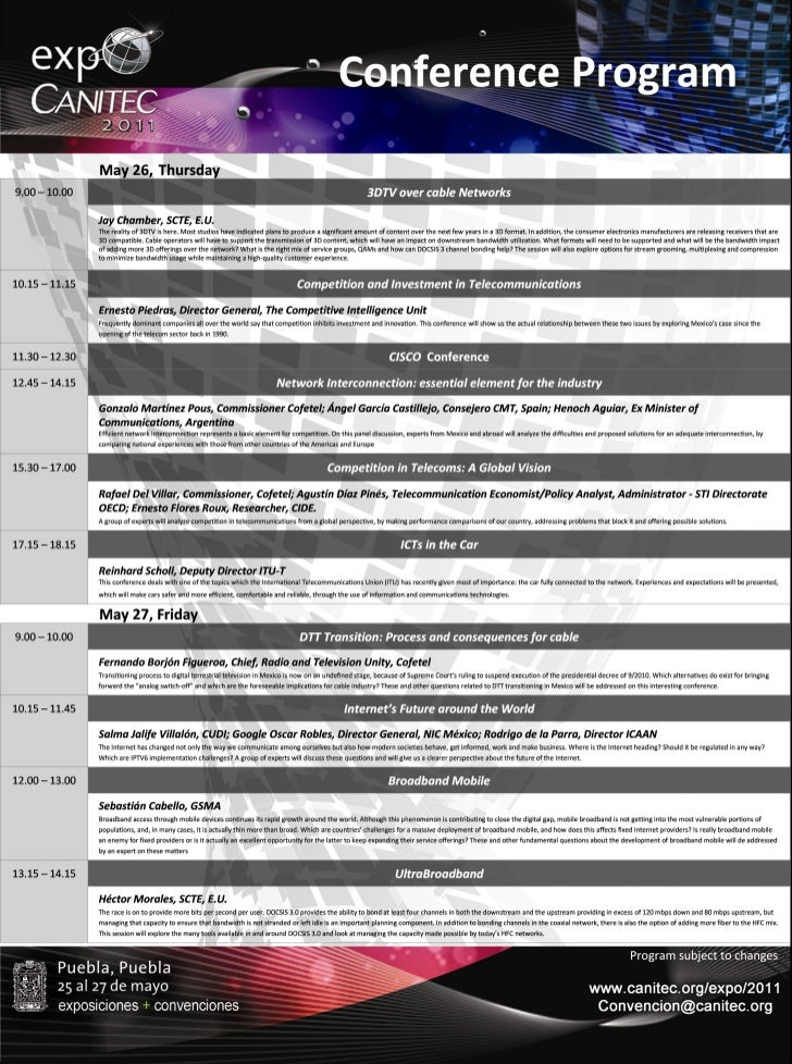 Conference Program Expo Canitec 2011