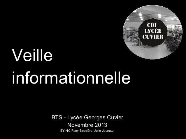 Veille informationnelle BTS - Lycée Georges Cuvier Novembre 2013 BY-NC Fany Bessière, Julie Jacoutot