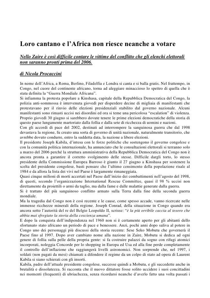 Nicola Procaccini : Congo articolo