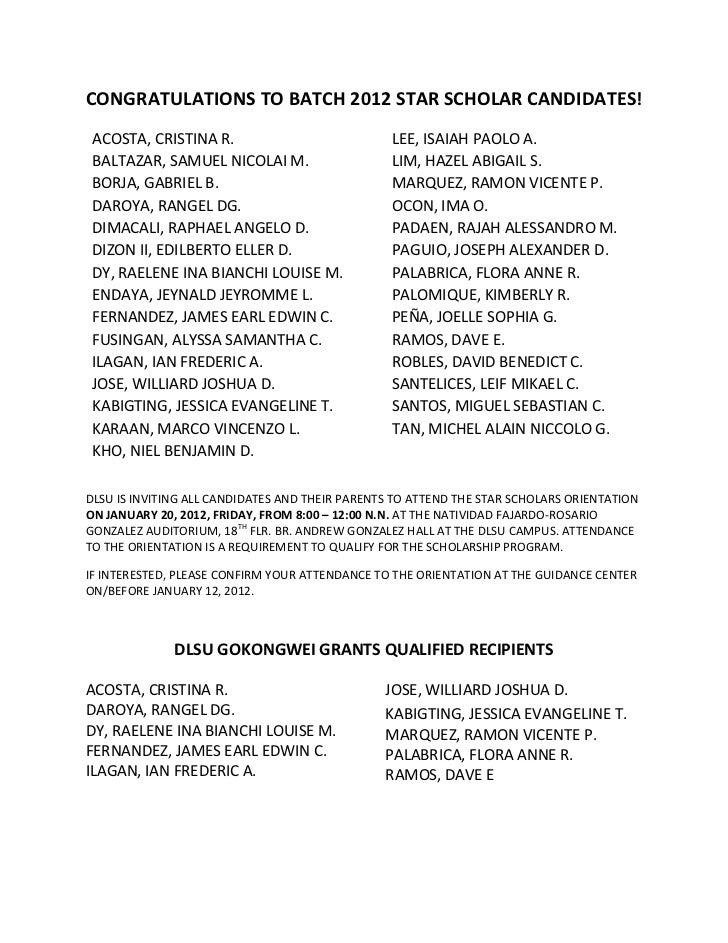 Congratulations to batch 2012 star scholar candidates