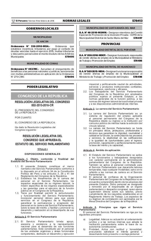 578413NORMAS LEGALESViernes 19 de febrero de 2016El Peruano / GOBIERNOS LOCALES MUNICIPALIDAD DE ANCON Ordenanza N° 336-20...