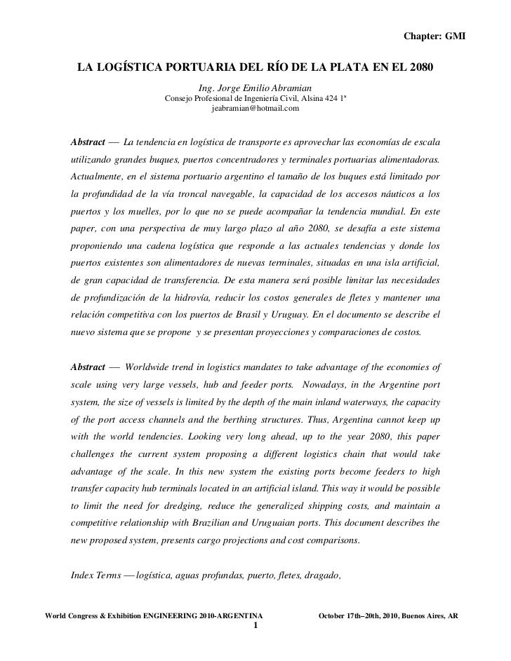 Chapter: GMI        LA LOGÍSTICA PORTUARIA DEL RÍO DE LA PLATA EN EL 2080                                       Ing. Jorge...
