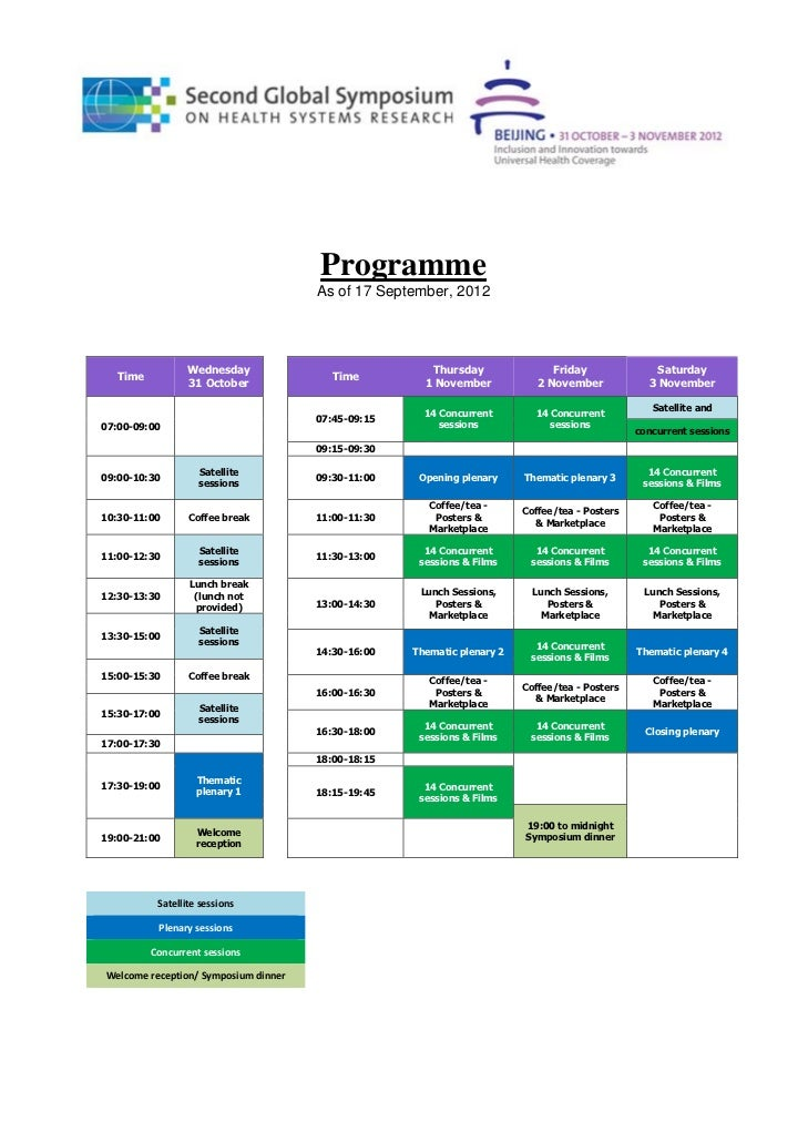 Programme                                                As of 17 September, 2012				                          Wednesday  ...
