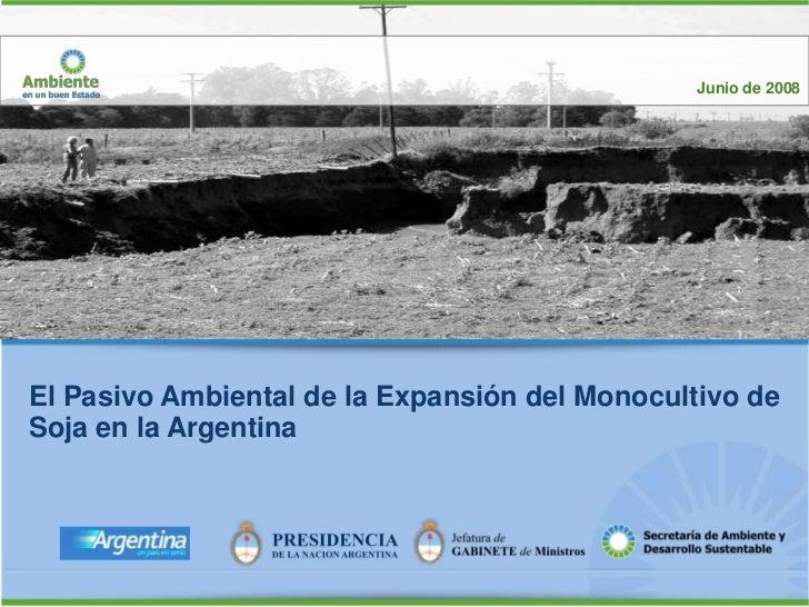 Junio de 2008El Pasivo Ambiental de la Expansión del Monocultivo deSoja en la Argentina