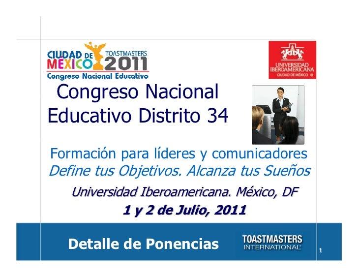 Congreso nacional educativo  2011. Detalle de Ponencias