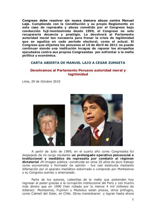 1 Congreso debe resolver sin nueva demora abuso contra Manuel Lajo. Cumpliendo con la Constitución y su propio Reglamento ...