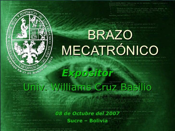 BRAZO MECATRÓNICO Expositor Univ. Williams Cruz Basilio 08 de Octubre del 2007 Sucre – Bolivia