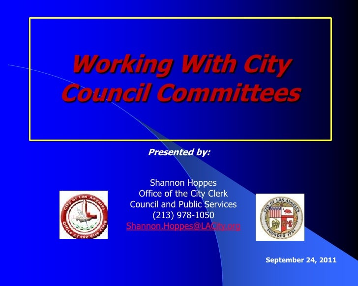 Working with City Council Committees