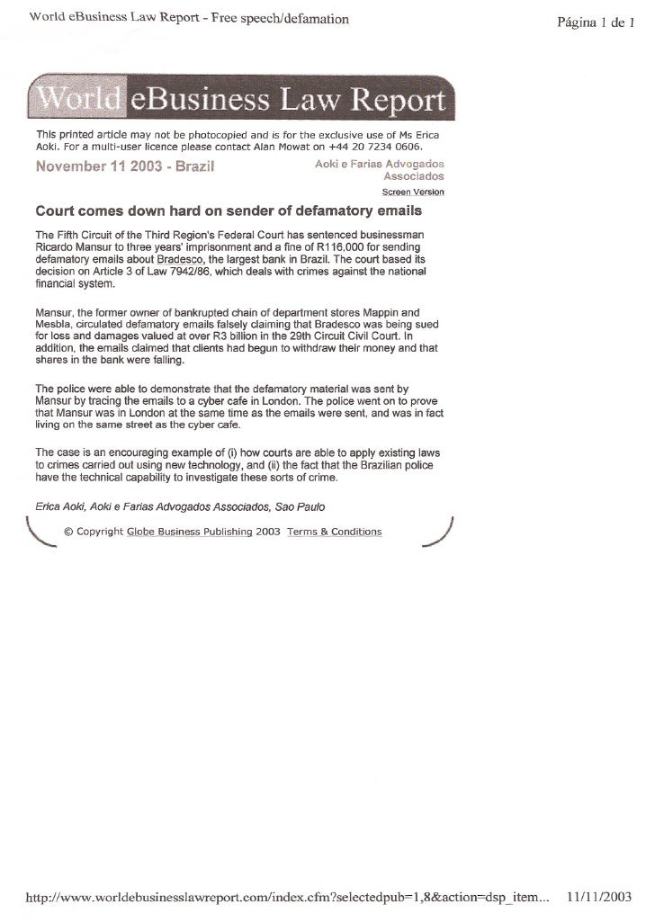 World eBusiness Law Report - Free speech/defamation                                                    Página 1 de 1     T...