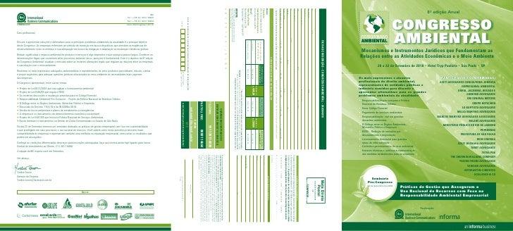 8ª edição Anual                               CONGRESSO                             AMBIENTAL  Mecanismos e Instrumentos J...