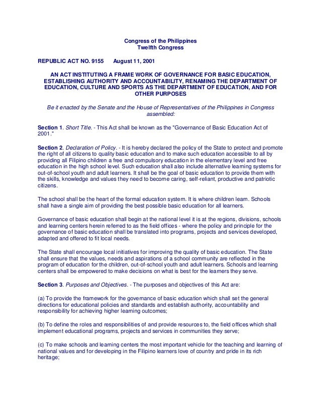 Congress of the Philippines Twelfth Congress REPUBLIC ACT NO. 9155 August 11, 2001 AN ACT INSTITUTING A FRAME WORK OF GOVE...