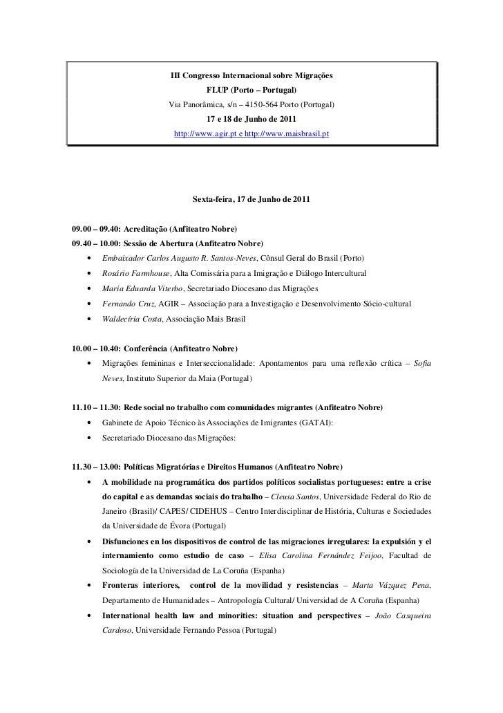 III Congresso Internacional sobre Migrações                                      FLUP (Porto – Portugal)                  ...