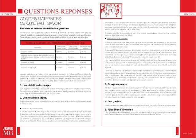 QUESTIONS ... ... REPONSES  JEUNE  MG  QUESTIONS-REPONSES  CONGES MATERNITES:  CE QU'IL FAUT SAVOIR  Enceinte et interne e...