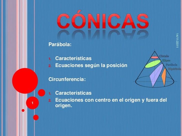 14/11/2011    Parábola:    1.   Características    2.   Ecuaciones según la posición    Circunferencia:    1.   Caracterís...