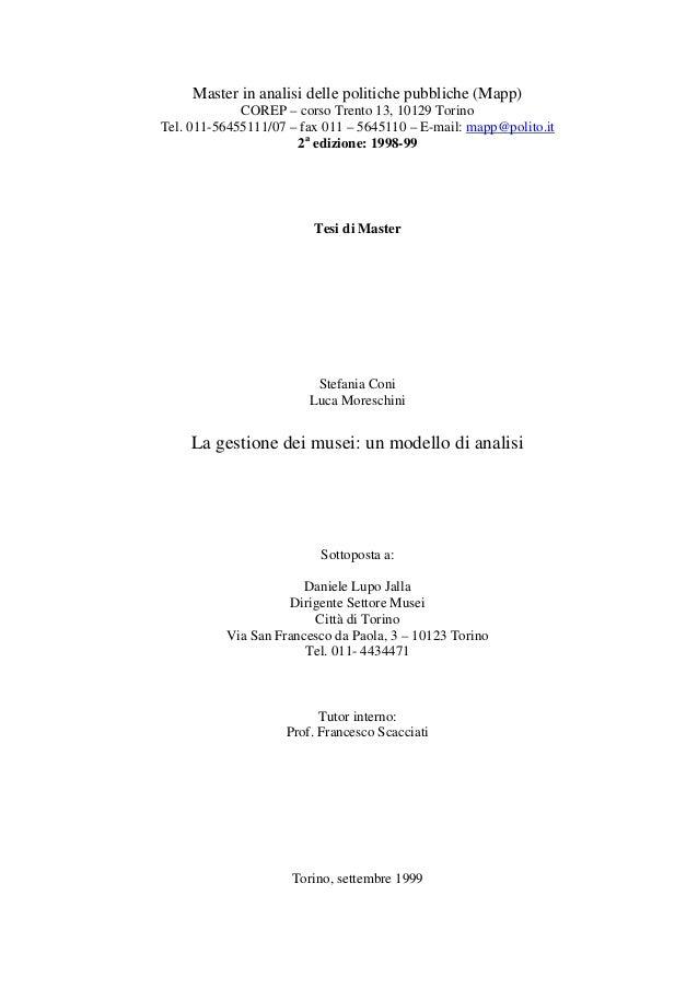 La gestione dei musei: un modello di analisi - Stefania Coni Luca Moreschini