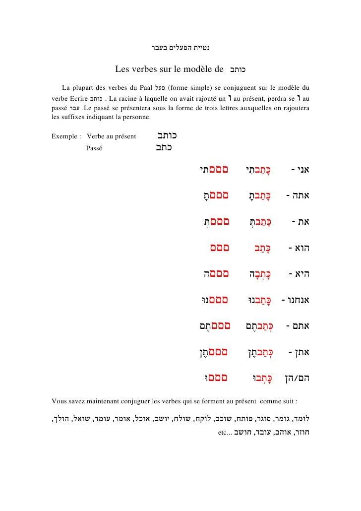 נטיית הפעלים בעבר                       Les verbes sur le modèle de כותב    La plupart des verbes du Paal ( פעלforme...