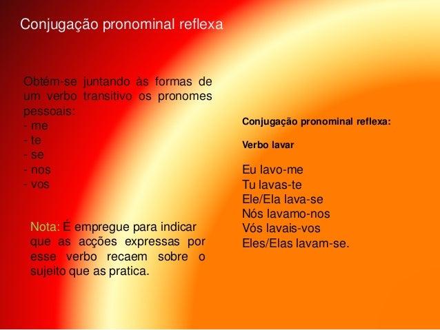 Obtém-se juntando às formas de um verbo transitivo os pronomes pessoais: - me - te - se - nos - vos Conjugação pronominal ...